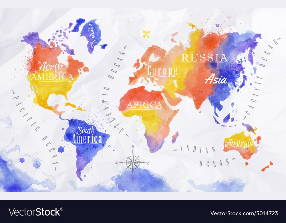 Watercolor world map red purple vector | Price: 1 Credit (USD $1)