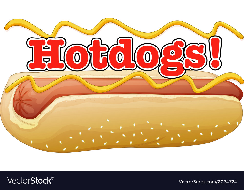 A hotdog in a bun with a label vector | Price: 3 Credit (USD $3)