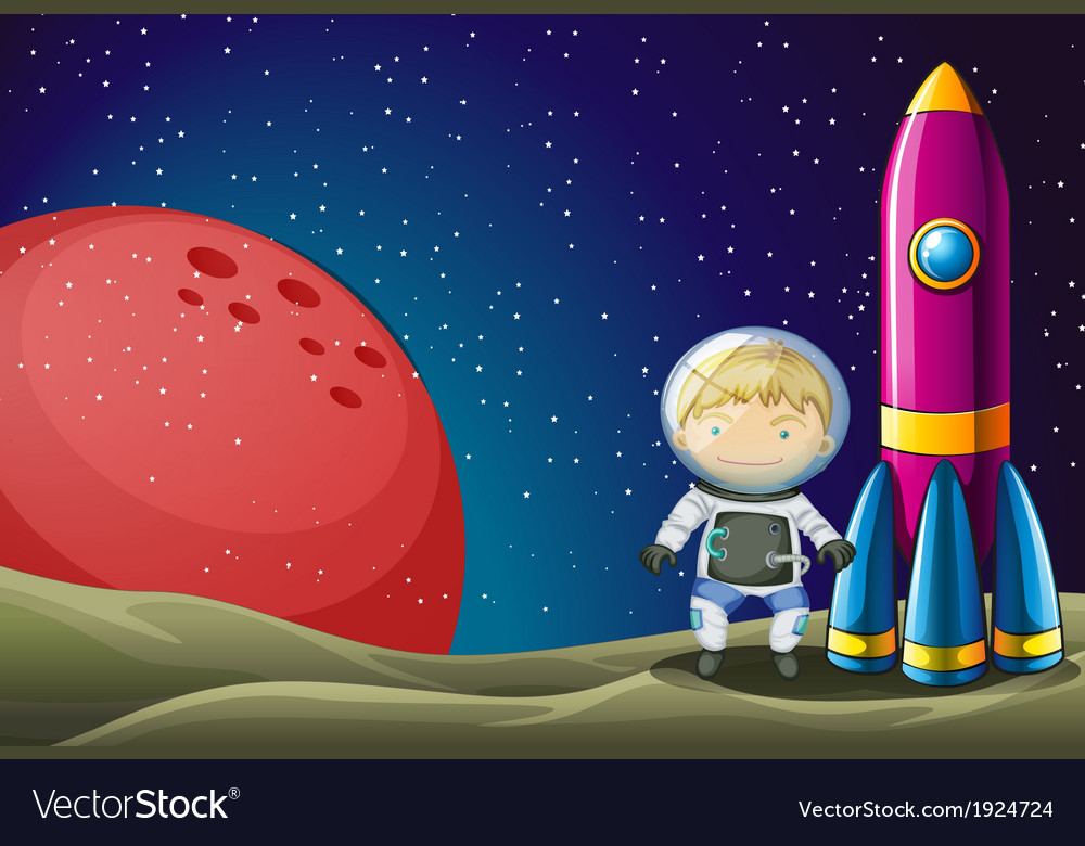 An explorer beside the rocket in the outerspace vector | Price: 3 Credit (USD $3)