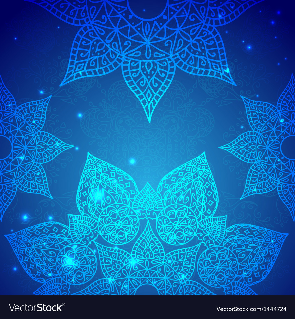 Blue vintage indian ornament vector | Price: 1 Credit (USD $1)