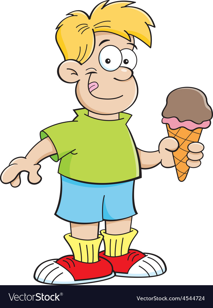 Cartoon boy holding an ice cream cone vector | Price: 1 Credit (USD $1)