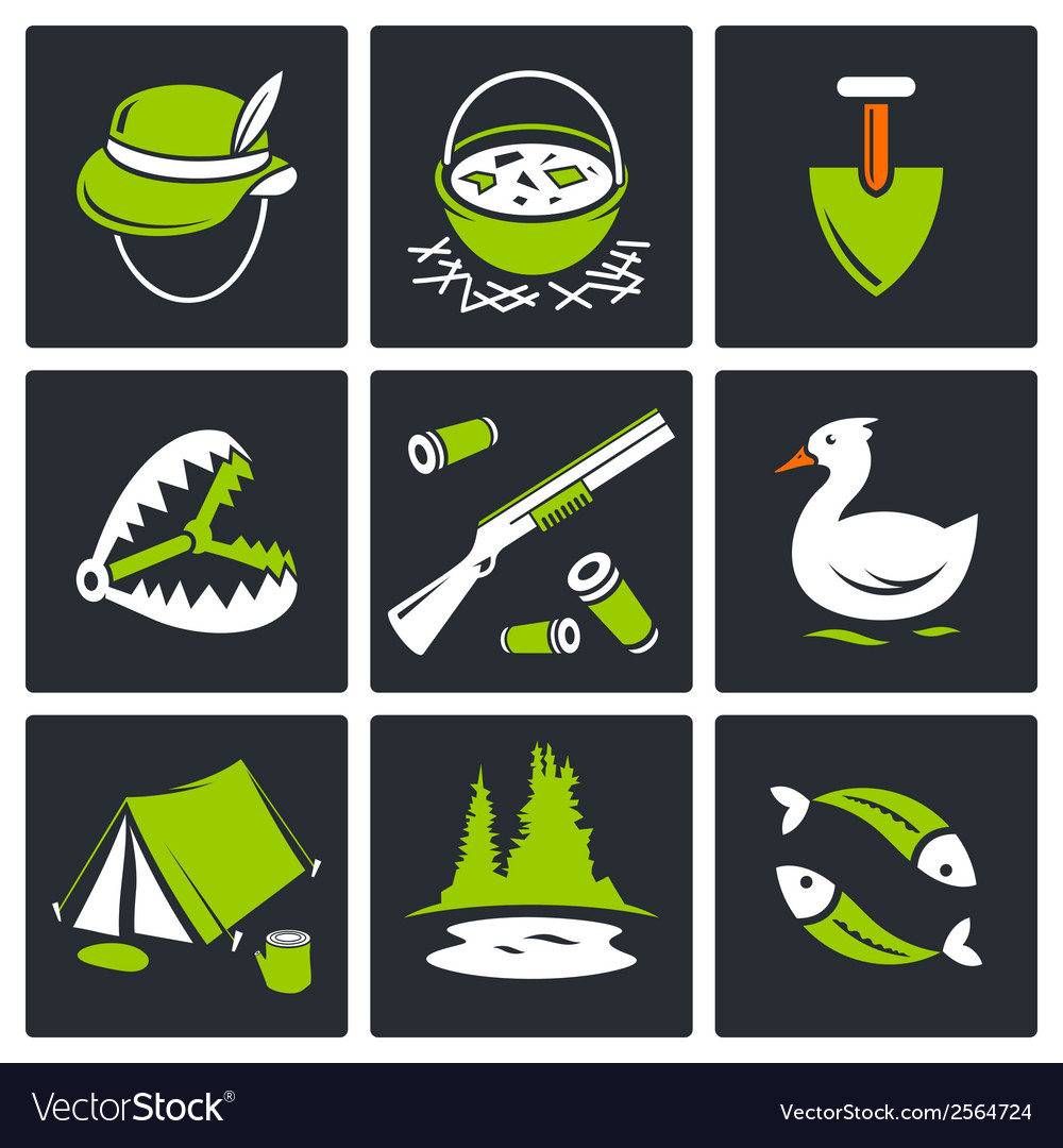 Color hunting and fishing icon set vector | Price: 1 Credit (USD $1)