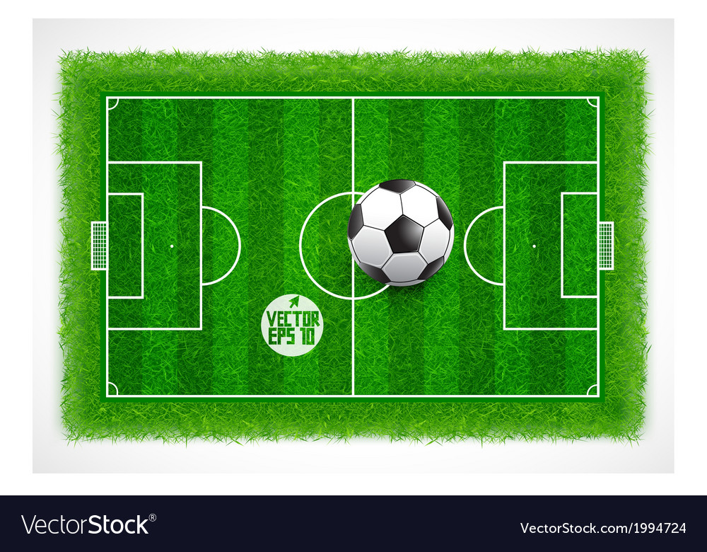 Football field top view with realistic green grass vector | Price: 1 Credit (USD $1)