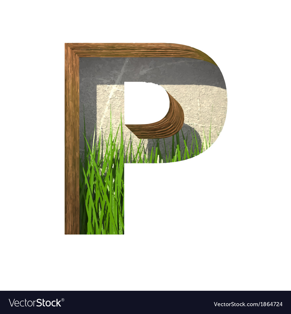 Grass cutted figure p paste to any background vector | Price: 1 Credit (USD $1)
