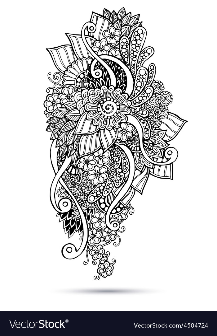 Henna paisley mehndi doodles abstract floral vector | Price: 1 Credit (USD $1)