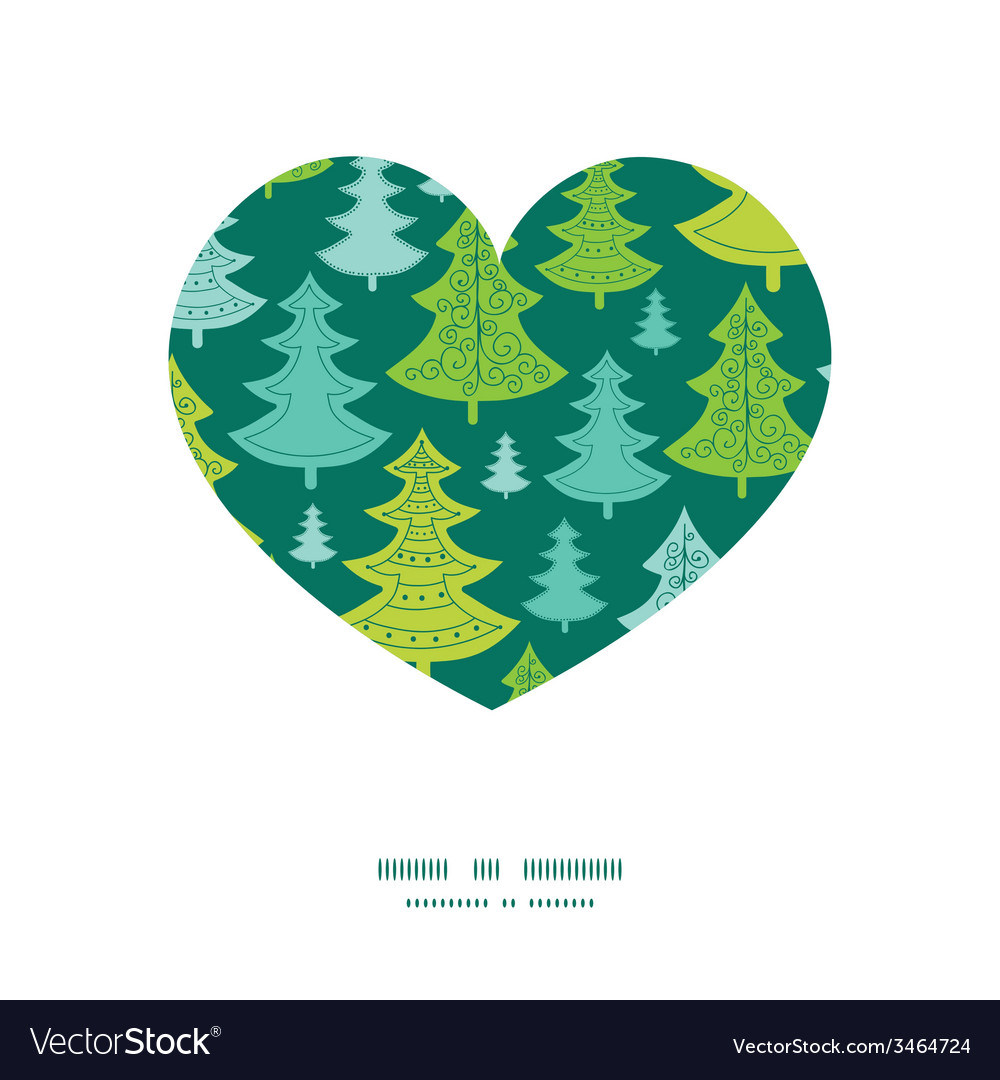 Holiday christmas trees heart silhouette pattern vector | Price: 1 Credit (USD $1)
