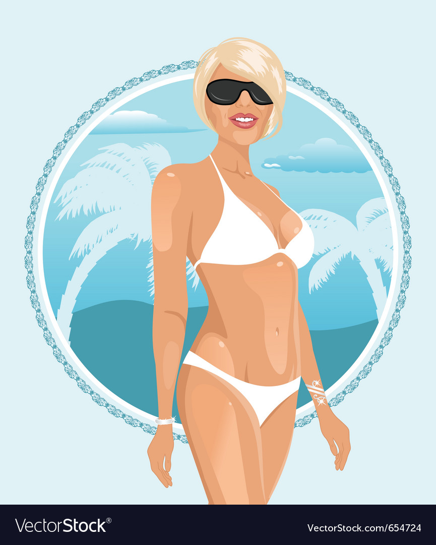 Pretty girl on a summer background - vector | Price: 3 Credit (USD $3)