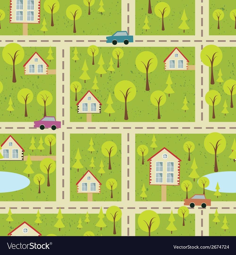 Seamless pattern with light asphalt and houses vector | Price: 1 Credit (USD $1)