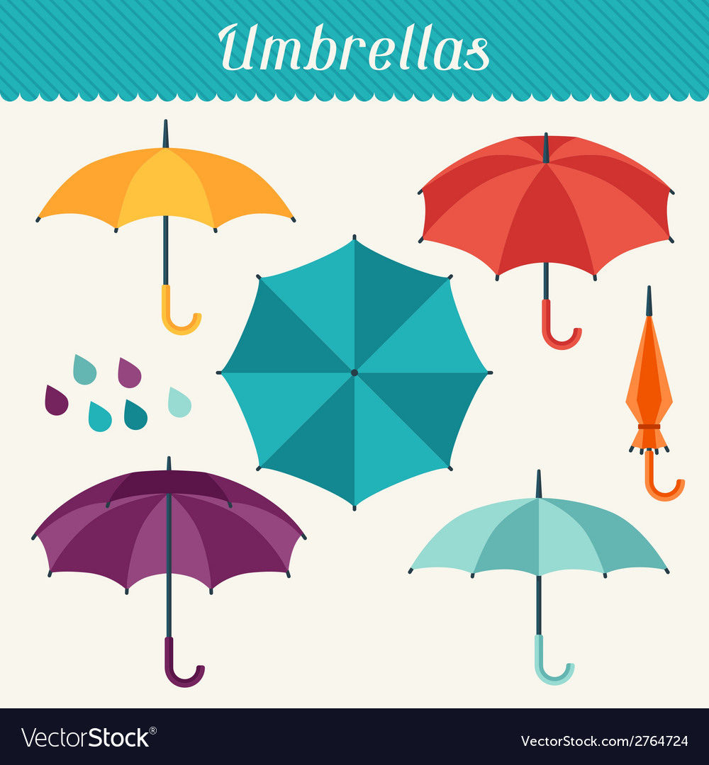 Set of cute multicolor umbrellas in flat design vector | Price: 1 Credit (USD $1)