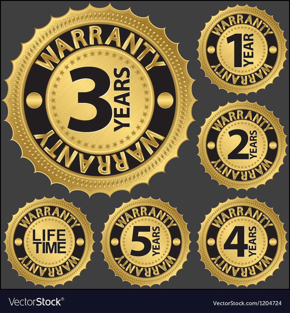 Warranty golden label set vector | Price: 1 Credit (USD $1)