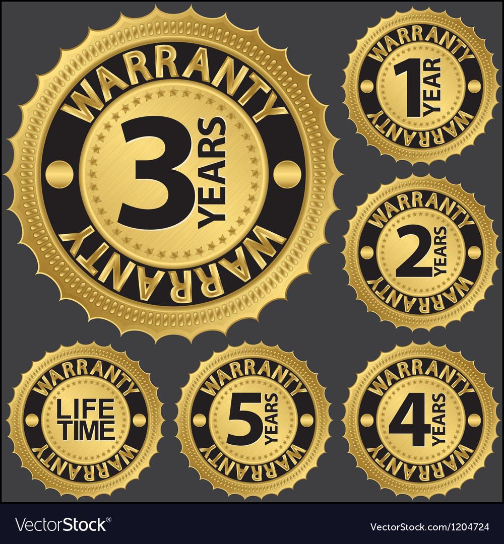 Warranty golden label set vector | Price: 1 Credit (USD $1)