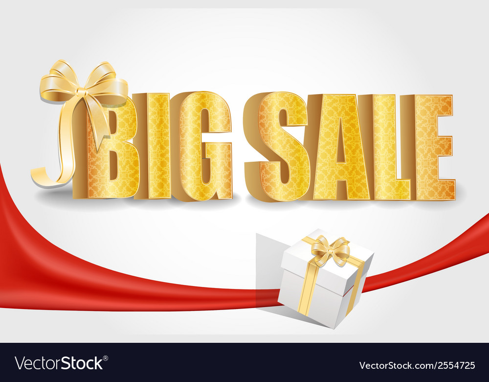3d big sale made of pure beautiful luxury gold vector | Price: 1 Credit (USD $1)