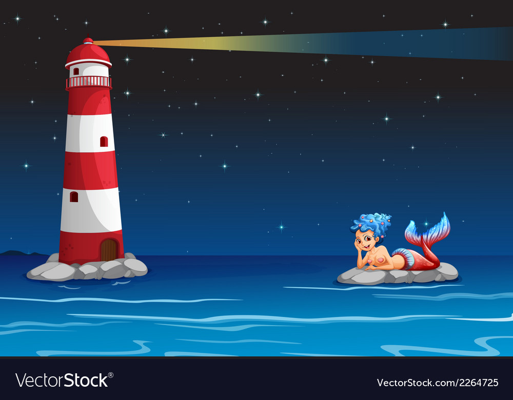 A smiling mermaid across the lighthouse vector | Price: 1 Credit (USD $1)