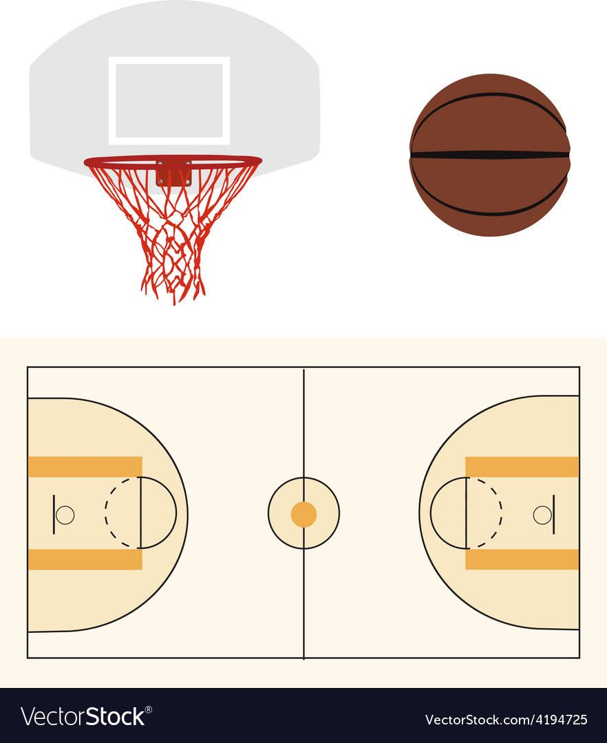 Basketball ball hoop and court vector | Price: 1 Credit (USD $1)