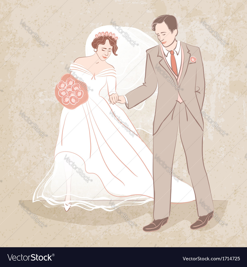 Bride and groom on grungy background vector | Price: 1 Credit (USD $1)