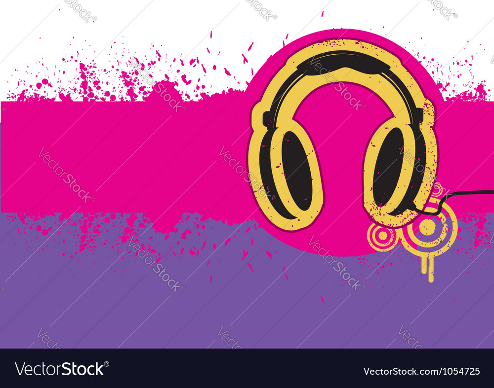 Headphone on grunge background for text vector | Price: 1 Credit (USD $1)