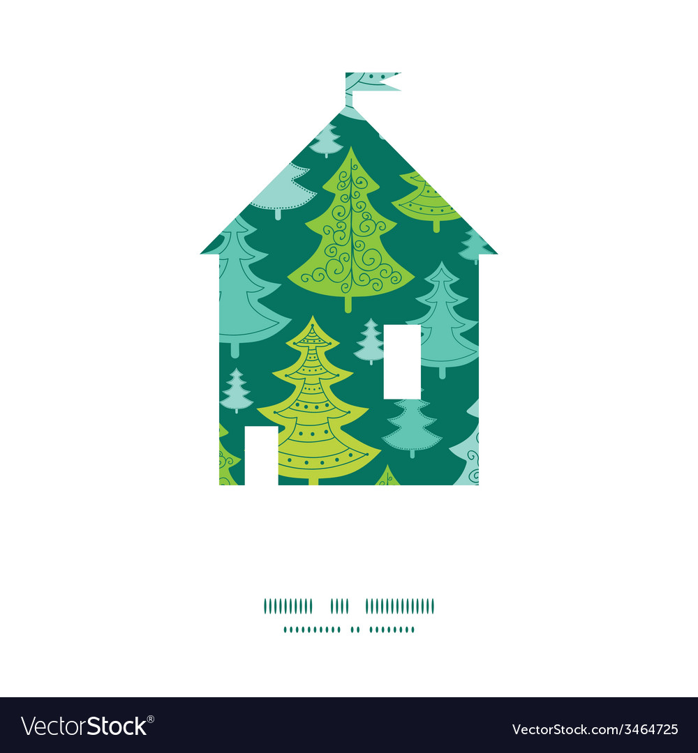 Holiday christmas trees house silhouette pattern vector   Price: 1 Credit (USD $1)
