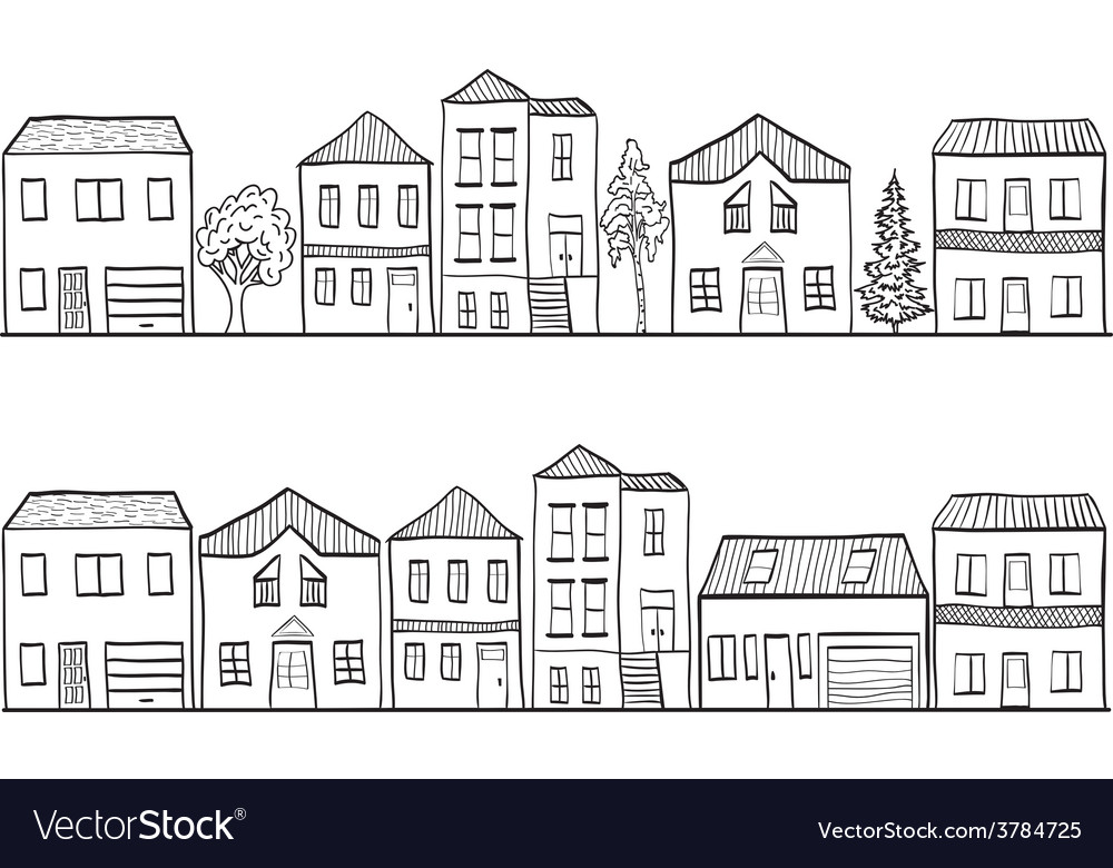 Houses and trees - background patt vector | Price: 1 Credit (USD $1)