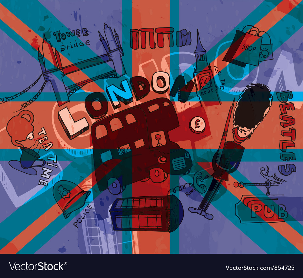 London doodles with grunge background vector | Price: 3 Credit (USD $3)