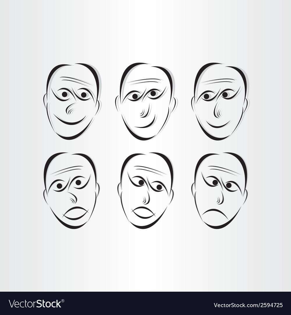 Men faces emotions symbols vector | Price: 1 Credit (USD $1)