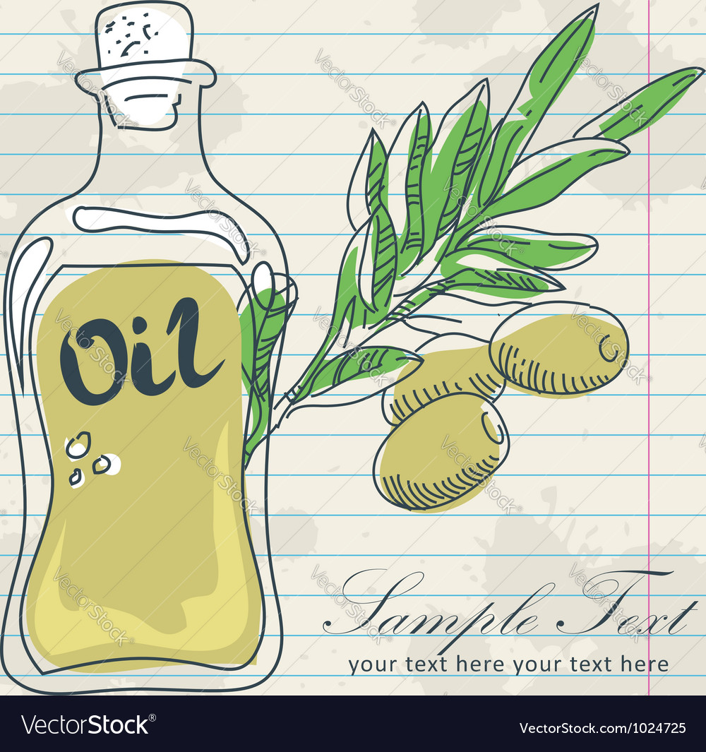 Olive oil in a bottle and a branch of olives vector | Price: 1 Credit (USD $1)