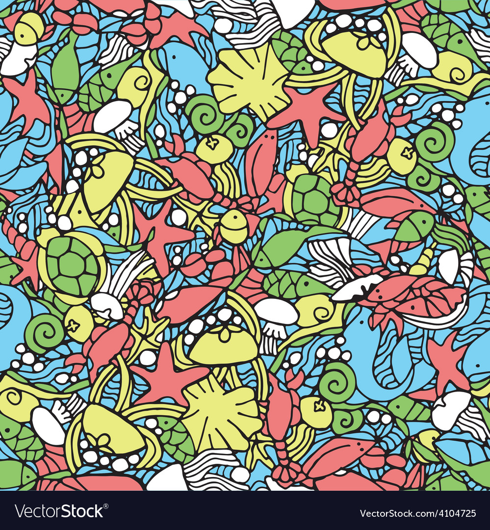 Seamless pattern with an underwater theme vector | Price: 1 Credit (USD $1)