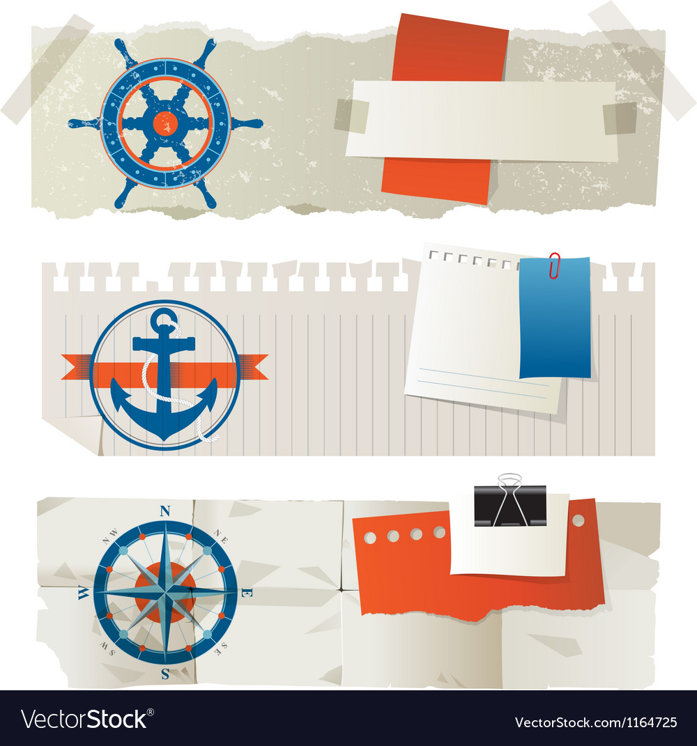 Stylized sea banners vector | Price: 1 Credit (USD $1)