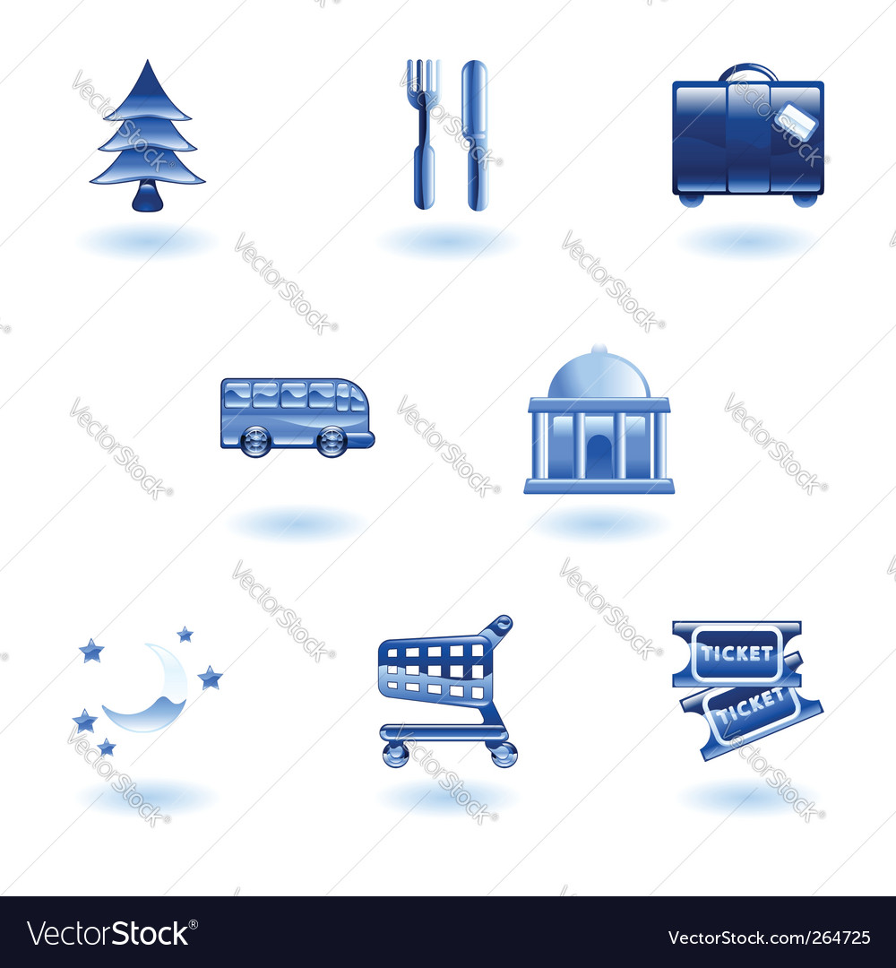Travel and tourism icons vector | Price: 1 Credit (USD $1)