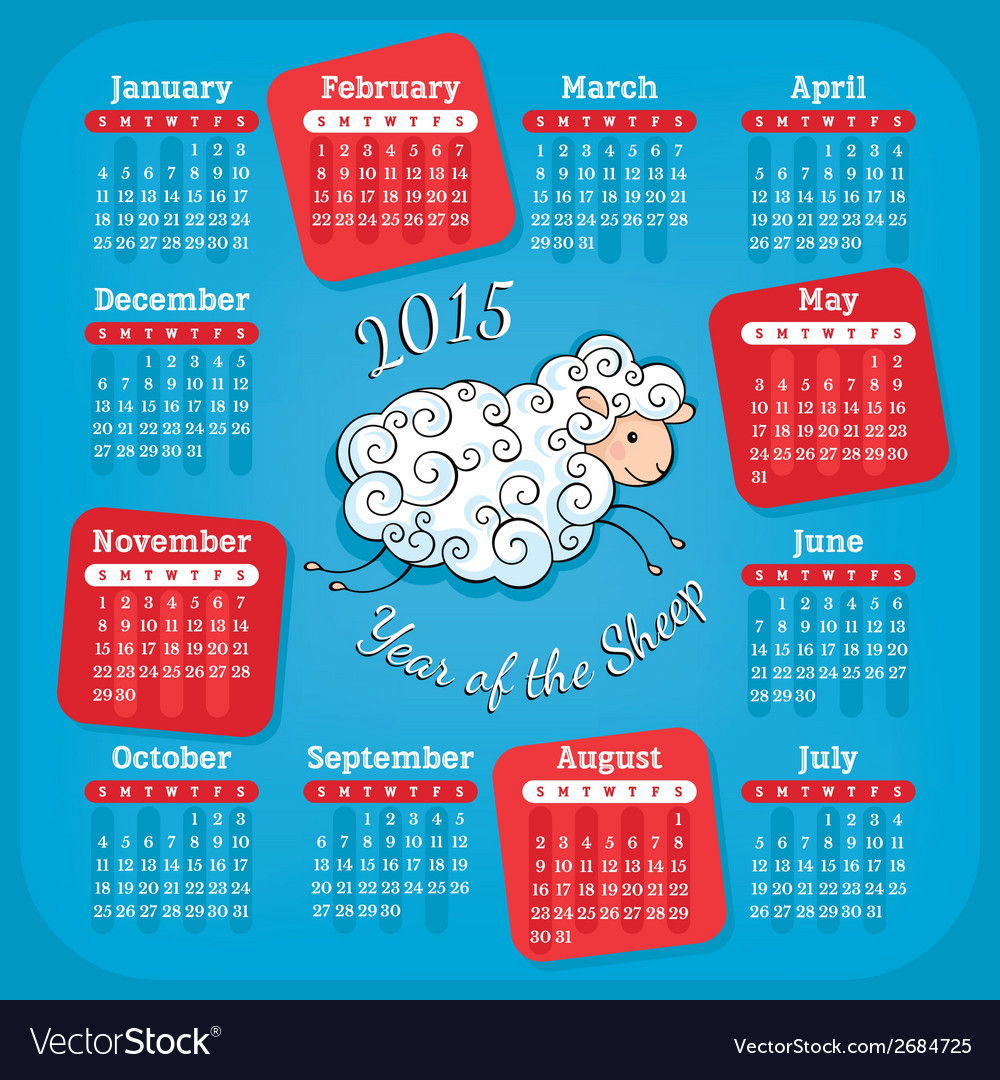 Year of the sheep calendar vector | Price: 1 Credit (USD $1)