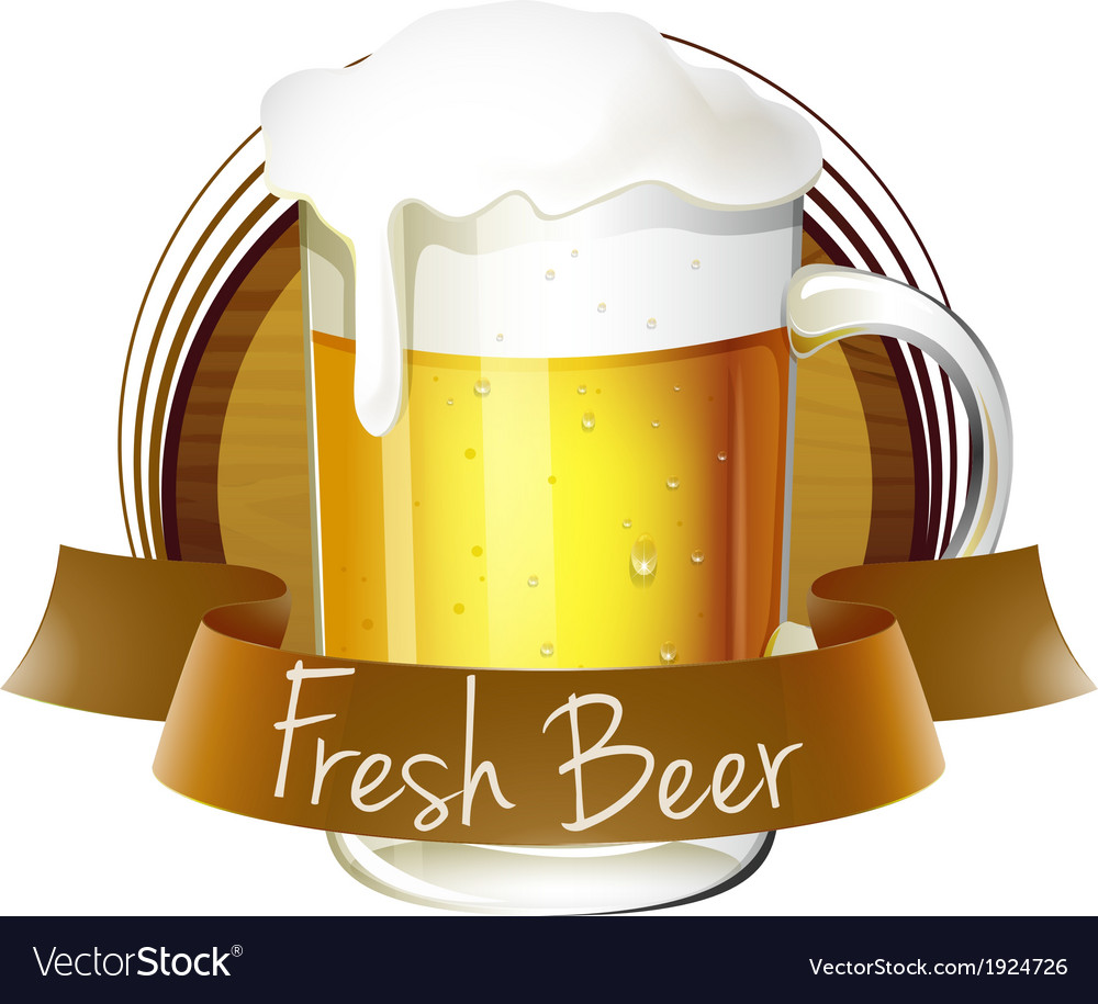 A mug of beer with a fresh beer label vector | Price: 3 Credit (USD $3)