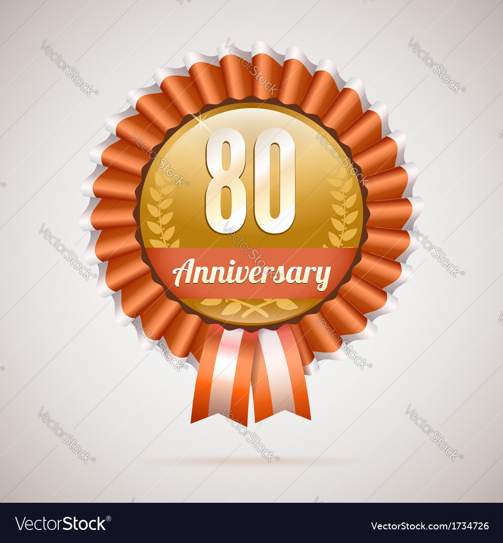 Anniversary golden badge with ribbons vector | Price: 1 Credit (USD $1)