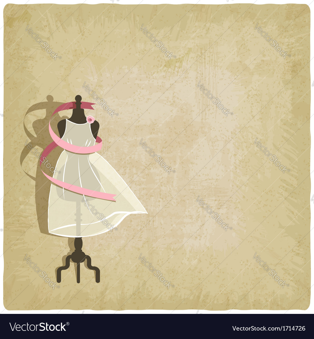 Bride dress on old paper background vector | Price: 1 Credit (USD $1)