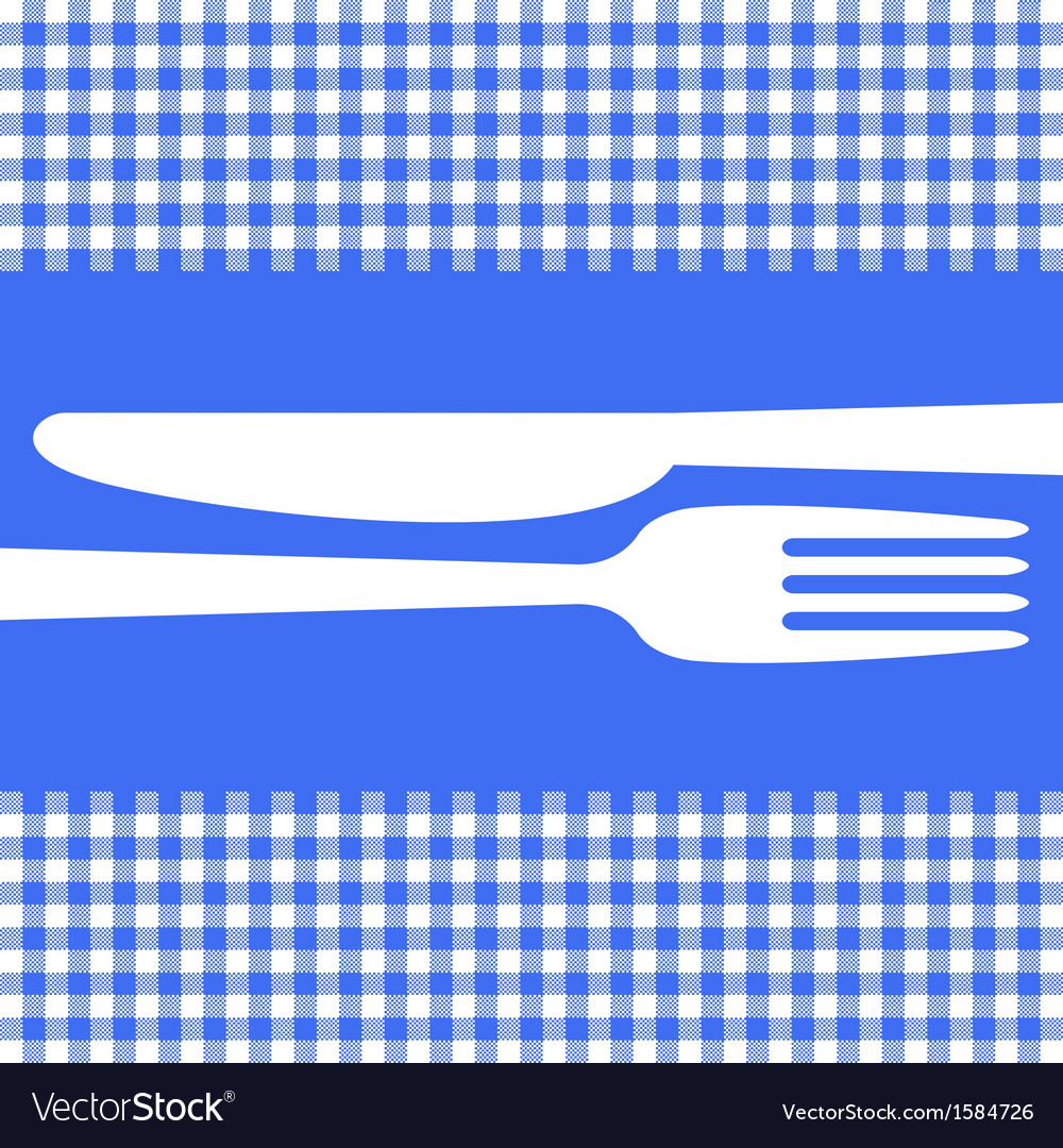 Cutlery silhouettes on blue tablecloth vector | Price: 1 Credit (USD $1)