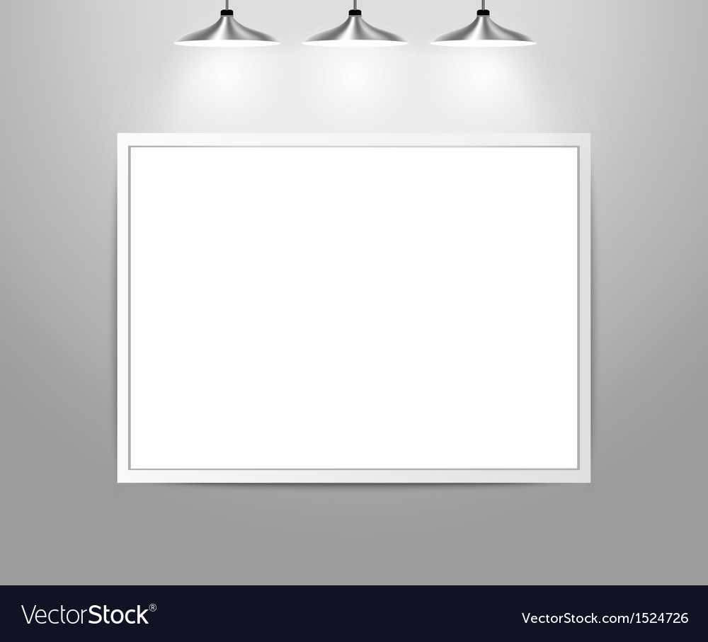 Empty gallery wall with lights vector | Price: 1 Credit (USD $1)