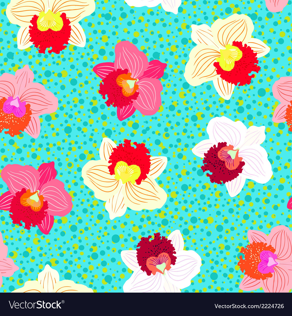 Floral tropical pattern with orchid flowers vector | Price: 1 Credit (USD $1)