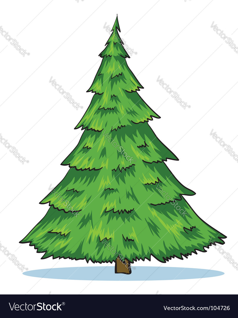 Green natural christmas tree illustration vector | Price: 1 Credit (USD $1)