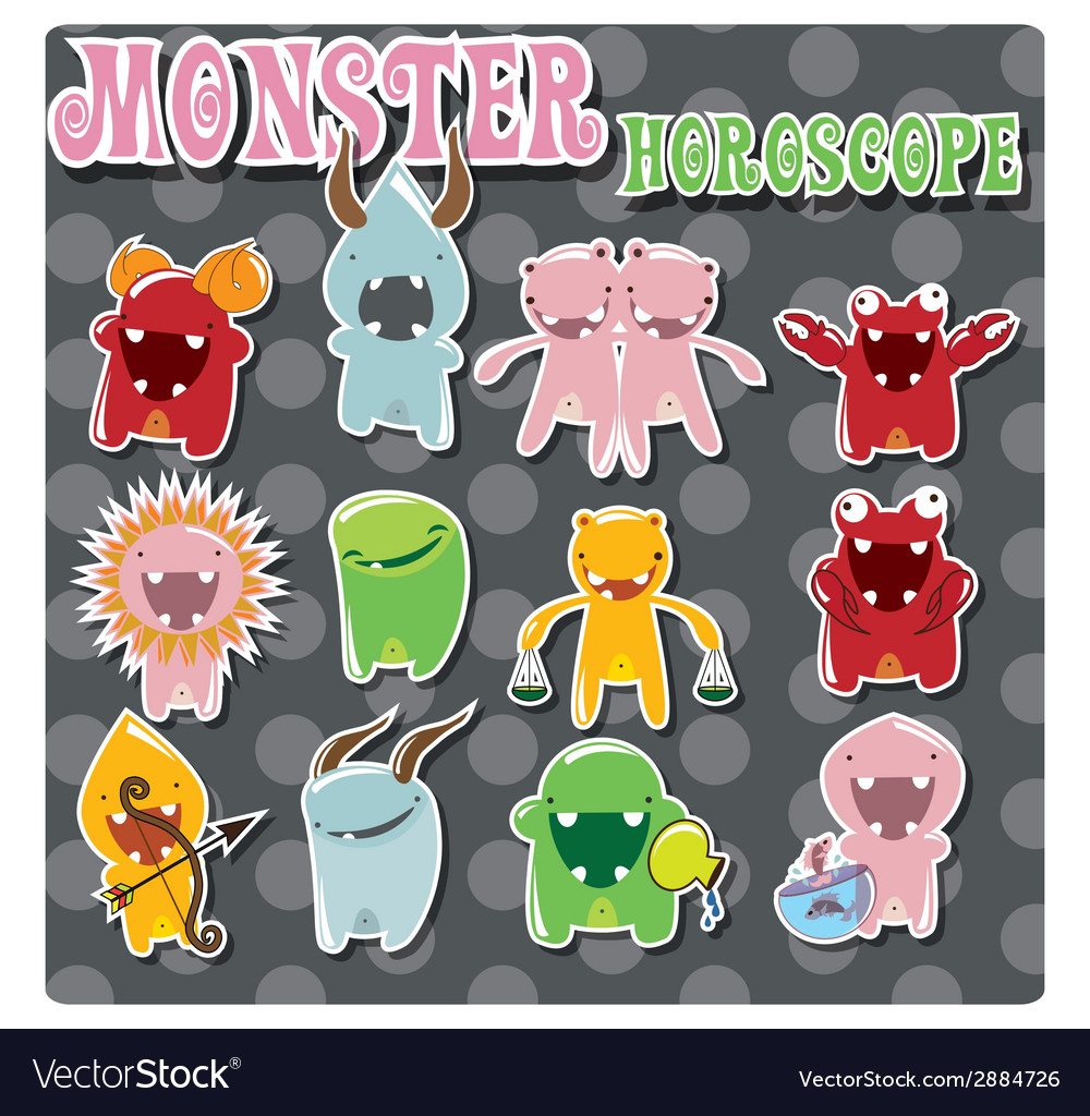 Horoscope signs with cute colorful monsters vector   Price: 1 Credit (USD $1)