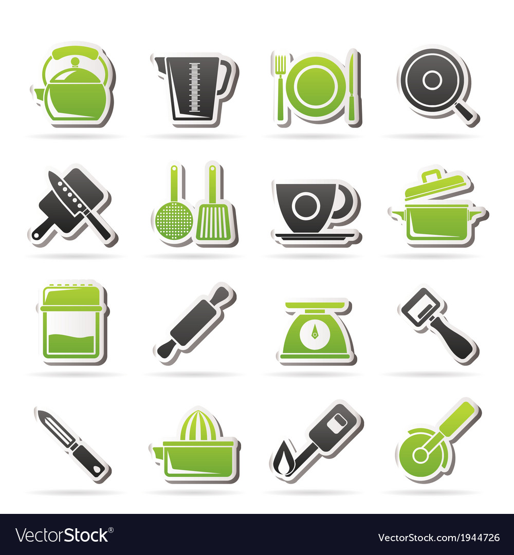 Kitchen gadgets and equipment icons vector | Price: 1 Credit (USD $1)