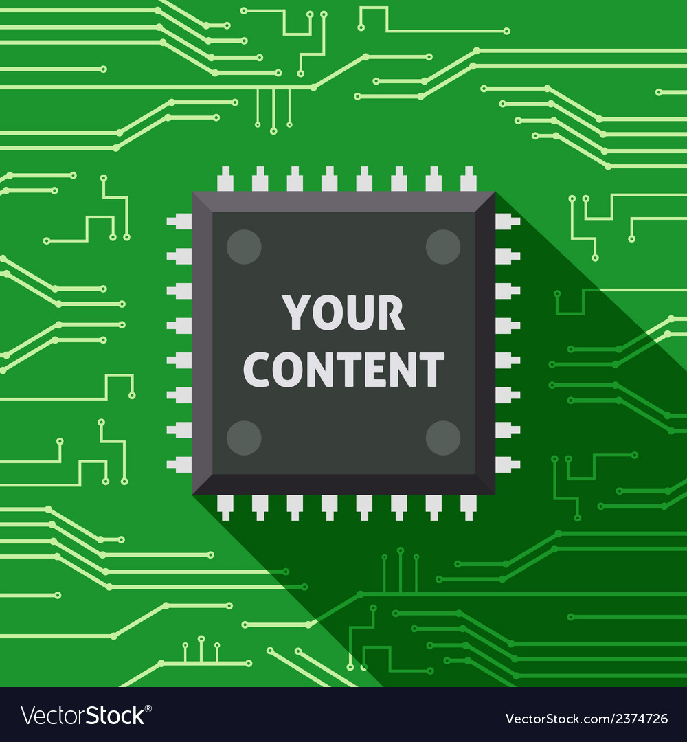 Microchip your content flat background vector | Price: 1 Credit (USD $1)