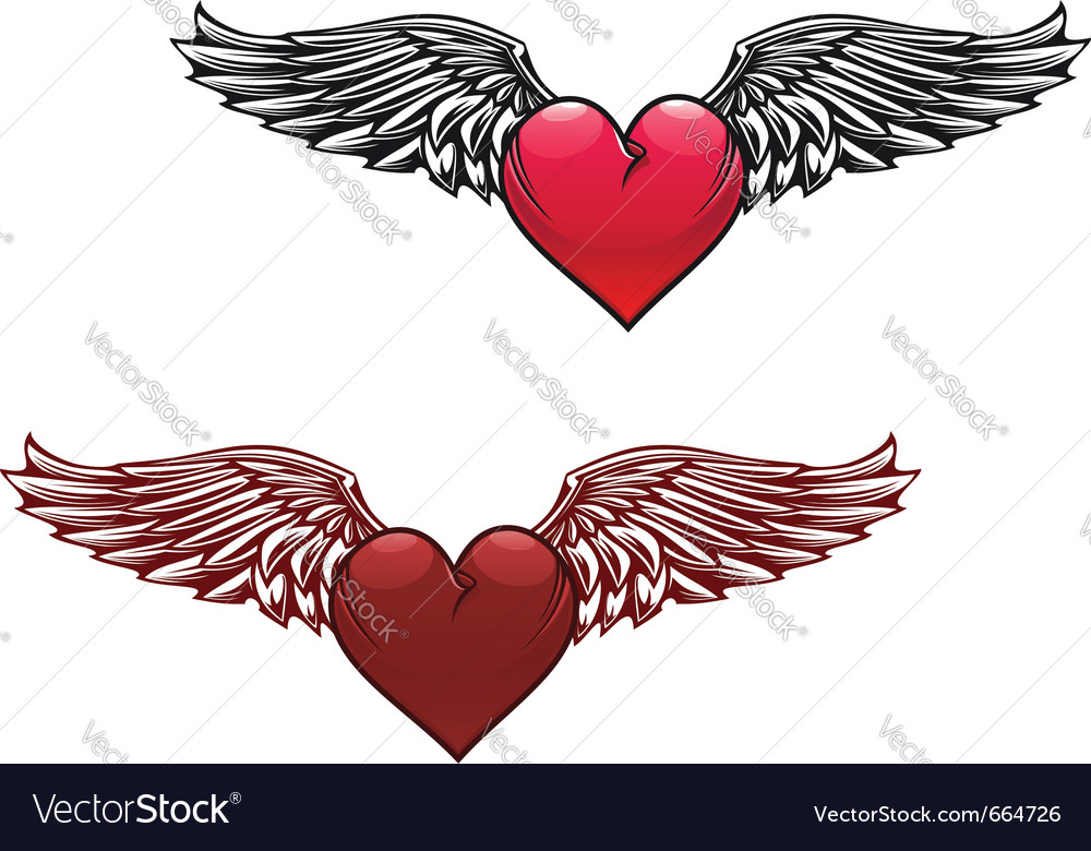 Retro heart with wings vector | Price: 1 Credit (USD $1)