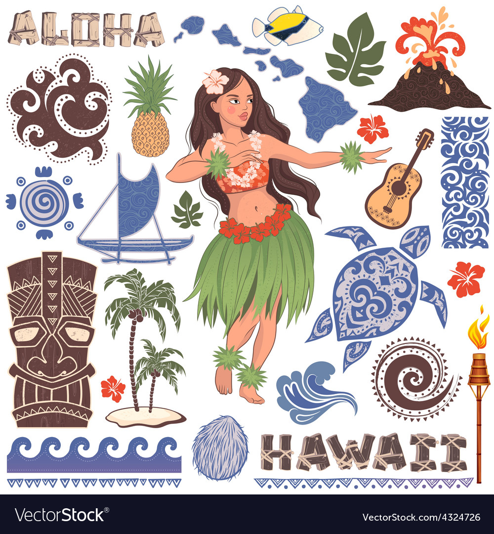 Retro set of hawaiian icons and symbols vector | Price: 3 Credit (USD $3)