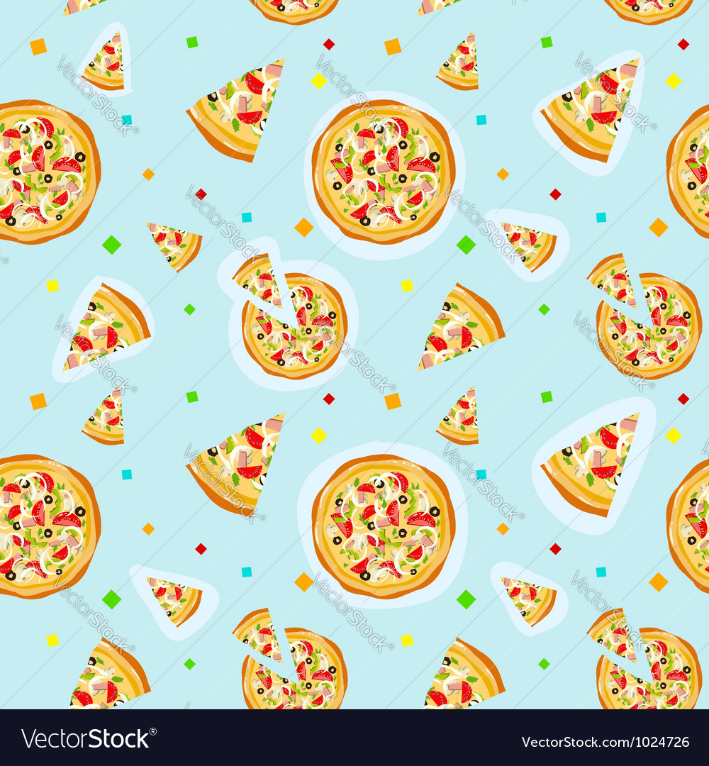 Seamless colorful cartoon pizza texture vector | Price: 1 Credit (USD $1)
