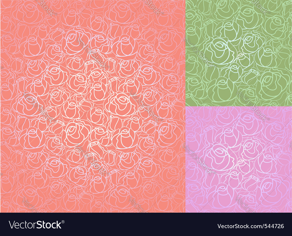 Seamless roses pattern set wallpaper vector | Price: 1 Credit (USD $1)