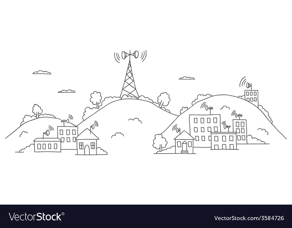Transmission tower on landscape with signal waves vector   Price: 1 Credit (USD $1)