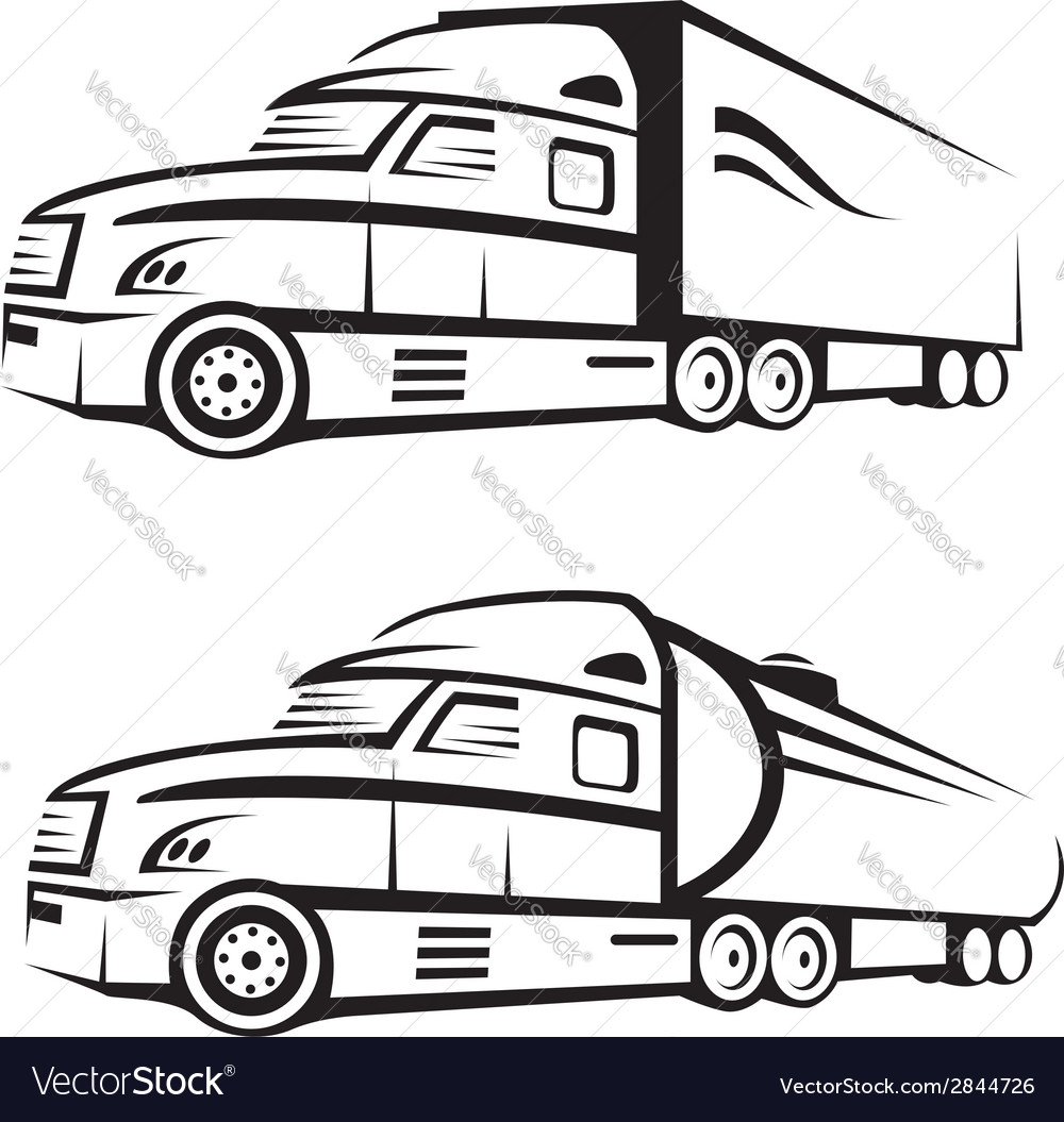 Truck and tank truck vector