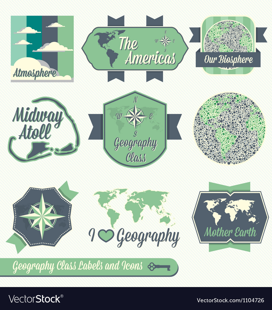 Vintage geography class labels and icons vector | Price: 1 Credit (USD $1)