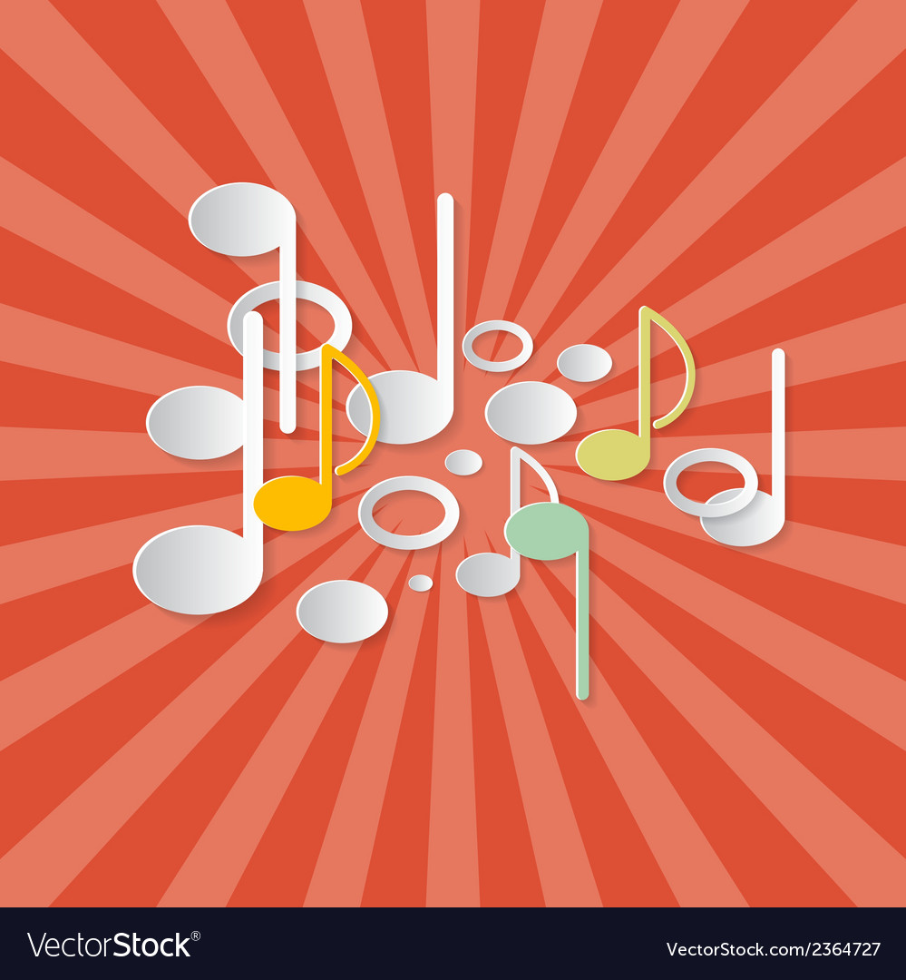 Abstract music retro red background with notes vector | Price: 1 Credit (USD $1)