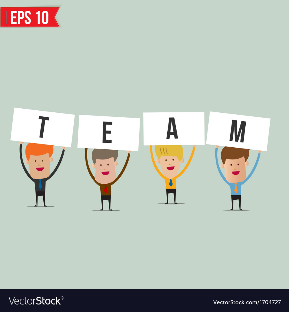 Business man showing teamwork - - eps10 vector | Price: 1 Credit (USD $1)
