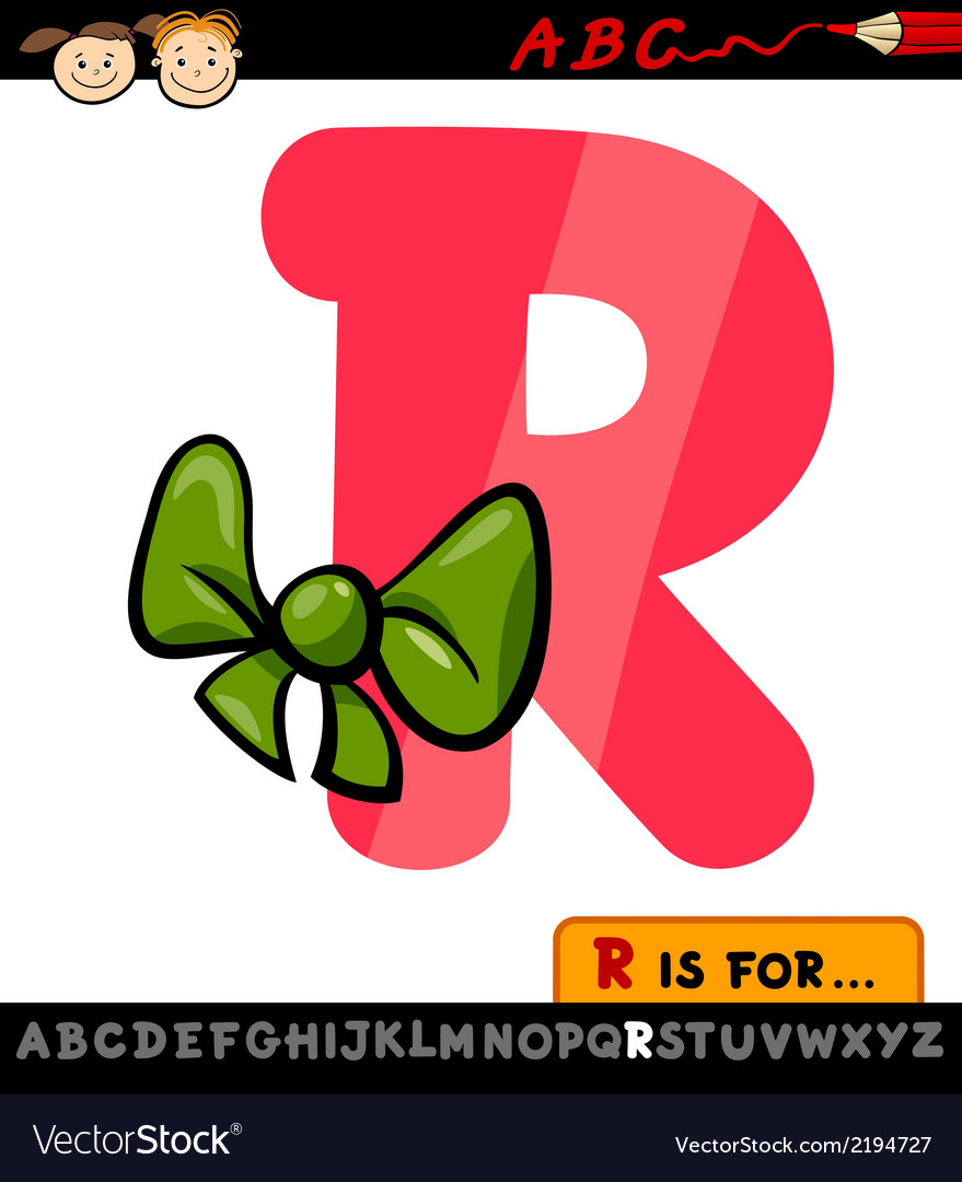 Letter r with ribbon cartoon vector | Price: 1 Credit (USD $1)