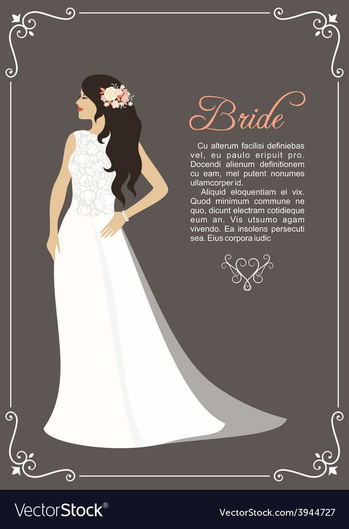 Lovely bride female in wedding dress design vector | Price: 1 Credit (USD $1)